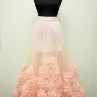 Skirt  Floral skirt  Rose skirt Tulle skirt Long skirt  Wedding skirt