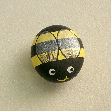 Bumble Bee, painted rocks, yellow, summer, honey bee, whimsical, country kitchen decor, gift for gardener, paperweight, Rockartiste