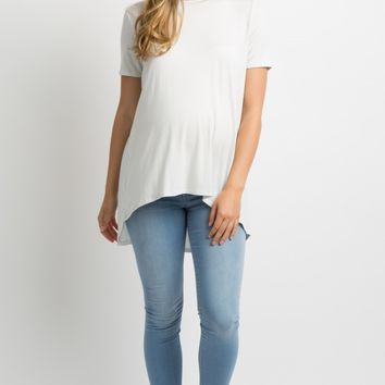 Light Grey Pleated Back Short Sleeve Maternity Top