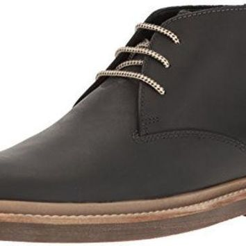 ESBON Clarks Men's Bushacre Ridge Chukka Boot, Black, 10 M US