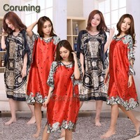 A1687 Time-limited Summer Style Women Nightgown 2016 Sleepwear Plus Size Indoor Clothing Faux Silk Robe Home Bathrobe