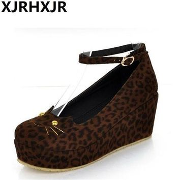 XJRHXJR Japanese Style Lolita Shoes Lovely Cat Slipsole Flatform Shoes Woman Pumps Free Shipping