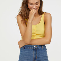 Tank Top with Snap Fasteners - Yellow - Ladies | H&M US
