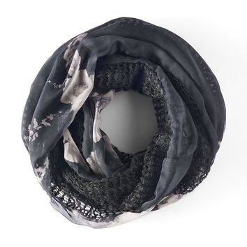 Simply Vera Vera Wang Mixed-Media Floral Knit Infinity Scarf, Size: One