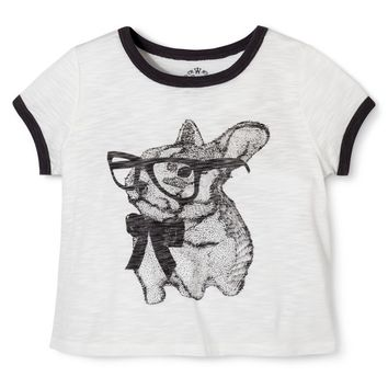 Girls' Cute Bunny Sketch Tee Shirt - Oatmeal Grey