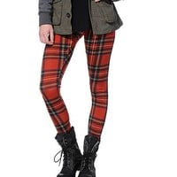 See You Monday Red Plaid Leggings