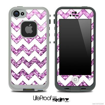 White Chevron Purple Glimmer Skin for the iPhone 5 or 4/4s LifeProof Case