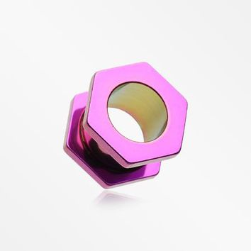 A Pair of Colorline Hexa Bolt Screw-Fit Ear Gauge Tunnel Plug