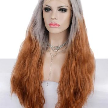 Long Grey To Honey Blonde Ombre Wave Synthetic Lace Front Wig
