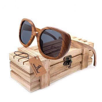 Bobo Bird Vintage  Dark Zebra Wood Sunglasses Large Frame Polarized Lenses