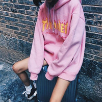 """""""Thrasher""""Thickening hoodie cotton red flame red letters Pink"""