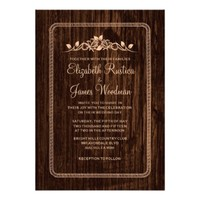 Peach Vintage Barn Wood Wedding Invitations