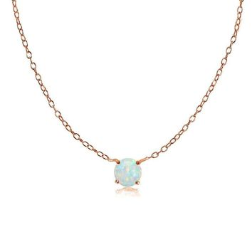 Dainty Round Simulated Opal Choker Necklace in Rose Gold Plated 925 Silver