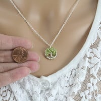 Minimalist Tree Of Life Necklace Peridot Pendant Silver Chain and Wire Wrapped Tree Semi Precious Gemstone Jewelry August Birthstone Jewelry