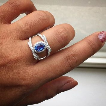 Womens .925 Sterling Silver Ring Brilliant Oval Blue Sapphire Cross  Ring