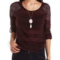 Embellished Sweater Knit High-Low Top by Charlotte Russe