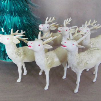 Vintage Christmas Reindeer Set, 1940's Celluloid Reindeer, Plastic Vintage Reindeer Figurines, Occupied Japan, Christmas Decor, Decoration