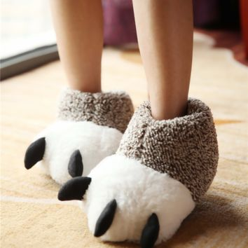 Winter Women Men Home Warm Animal Claw Soft Indoor Home Cute Slippers Shoes