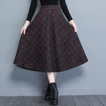 M-4XL Plus Size Women Skirts 2017 Autumn Long Woolen Plaid Skirts Women High Waist Pockets Winter Warm Vintage OL A Line Skirts