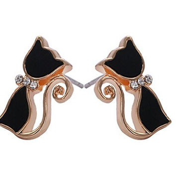 Basket Hill. Cat / Kitty Face Black and Gold Girls Post Earrings
