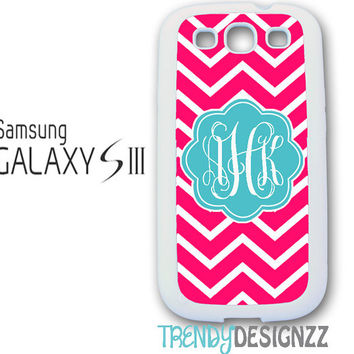 Samsung Galaxy S3 S4, iPhone case, Personalized iPhone case, iPhone 4 case, iPhone 5 case, Pink Chevron Blue Monogram, Phone Cover(1219)