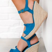 All We Want Naughty Monkey Suede Wedges (Teal)