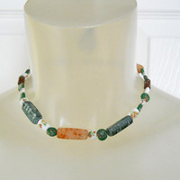 Vintage 1930s Choker Necklace with Milliefiore Beads