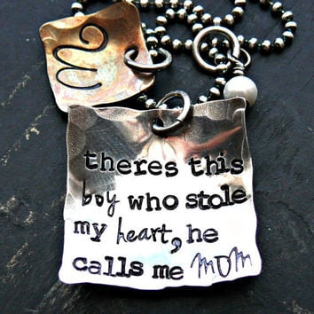 Mother and Son Personalized Necklace - Mothers Personalized Jewelry - Son Hand Stamped Necklace