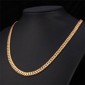 Hiphop Yellow Gold Plated Two Tone Chains For Men Fashion Jewelry 18'' 22'' 26'' 6MM Kpop Choker/Long Cuban Link Necklace N828