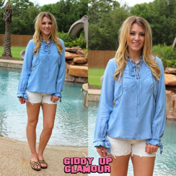 Signature Style Light Blue Chambray Top