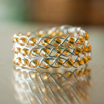 Gold and Silver Braided Ring,  Wire Wrapped Ring, Ring Band