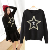 Pentagram Pattern Long Sleeve Pullovers Knitted Sweater