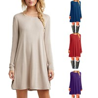 Dress Thin Casual O-Neck Solid Simple Long Sleeves  A-line Dress