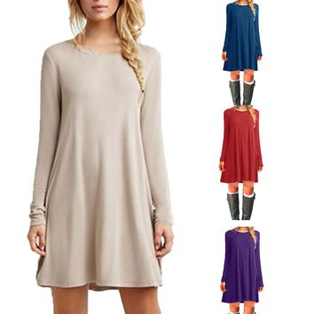 Vintage Autumn Dress Sexy Casual O-Neck Simple Long Sleeves  A-line
