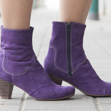 Purple Leather Boots, Ankle Boots, Leather Booties, Brown Boots, Winter Shoes, Purple Shoes , Cowboy Boots, Suede Boots, Free Shipping