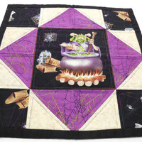 Table Topper Halloween Decor Decoration Handmade Candle Mat Quilted