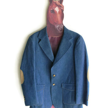 Mens Vintage Denim Blazer with Beige Elbow Patches