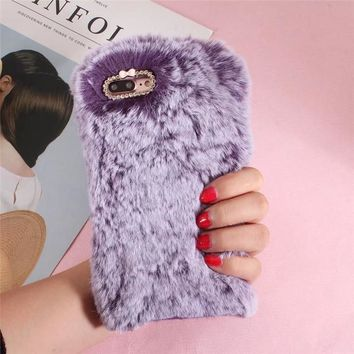 Luxury Plush Rabbit Fur Case For Coque iPhone X XS Max XR 8 7 6 6S Plus 5S 5 SE Case Rhinestone Diamond Case For iPhone XS Cover