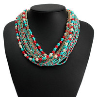 Women Necklace Bib Multi-layer Beads Choker