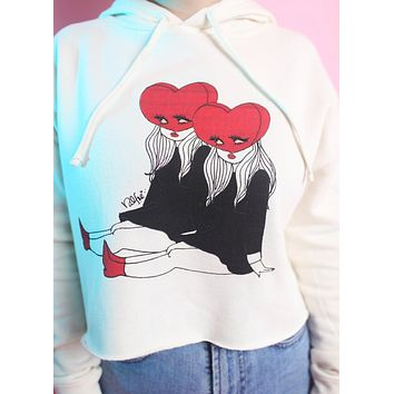 Heart Heads Cropped Hoodie