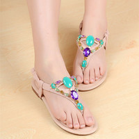 Fashion Bohemian Beads Rhinstone Flat Thong Sandals for Summer