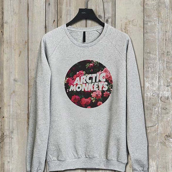 arctic monkey flower Music tee Ash Grey  Long Sleeve Crew Neck Pullover Sweatshirt