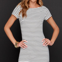 Change One's Stripes Black and White Striped Dress