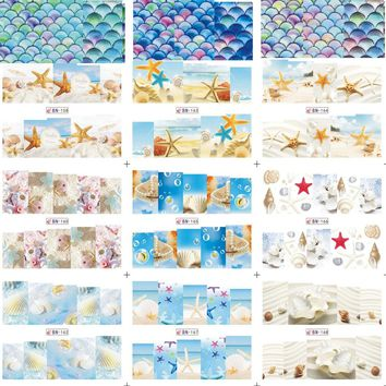 1 Sheet Water Transfer Sticker Nail Art Summer Sea Animal Shell/Conch/Starfish Decals Manicure Tools for Full Tips BN157-168