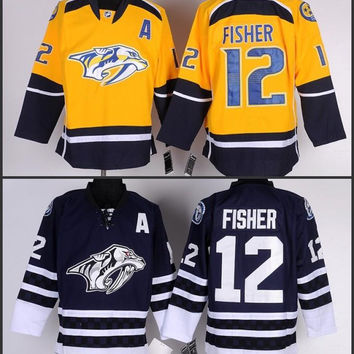 Cheap Men's Nashville Predators 12 Mike Fisher Jersey Black White RED Lacing Neck Vintage Sewn authentic Hockey Jerseys