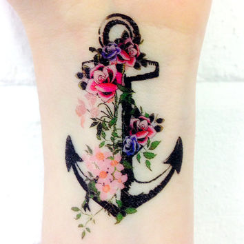 Vintage Anchor temporary tattoo 3x2""