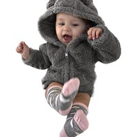 2018 Newborn Baby Winter Snowsuits Boys Girls Fur Hoodie Winter Warm Coat Jacket Cute Thicken Clothes Cartoon Bear Baby Clothing