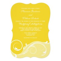Yellow Floral Swirl Bracket Wedding Invites