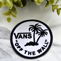 VANS SKATE Iron on Patch Skateboard Chothing Shoes Street Wear 1966 Circle White Off the Wall Board Sport Logo Black Palm Tree Holiday