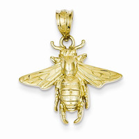 14k Yellow Gold Solid Open-Backed Bee Pendant